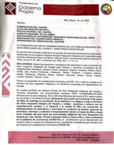 Letter from Gobierno-Propio Vaupés